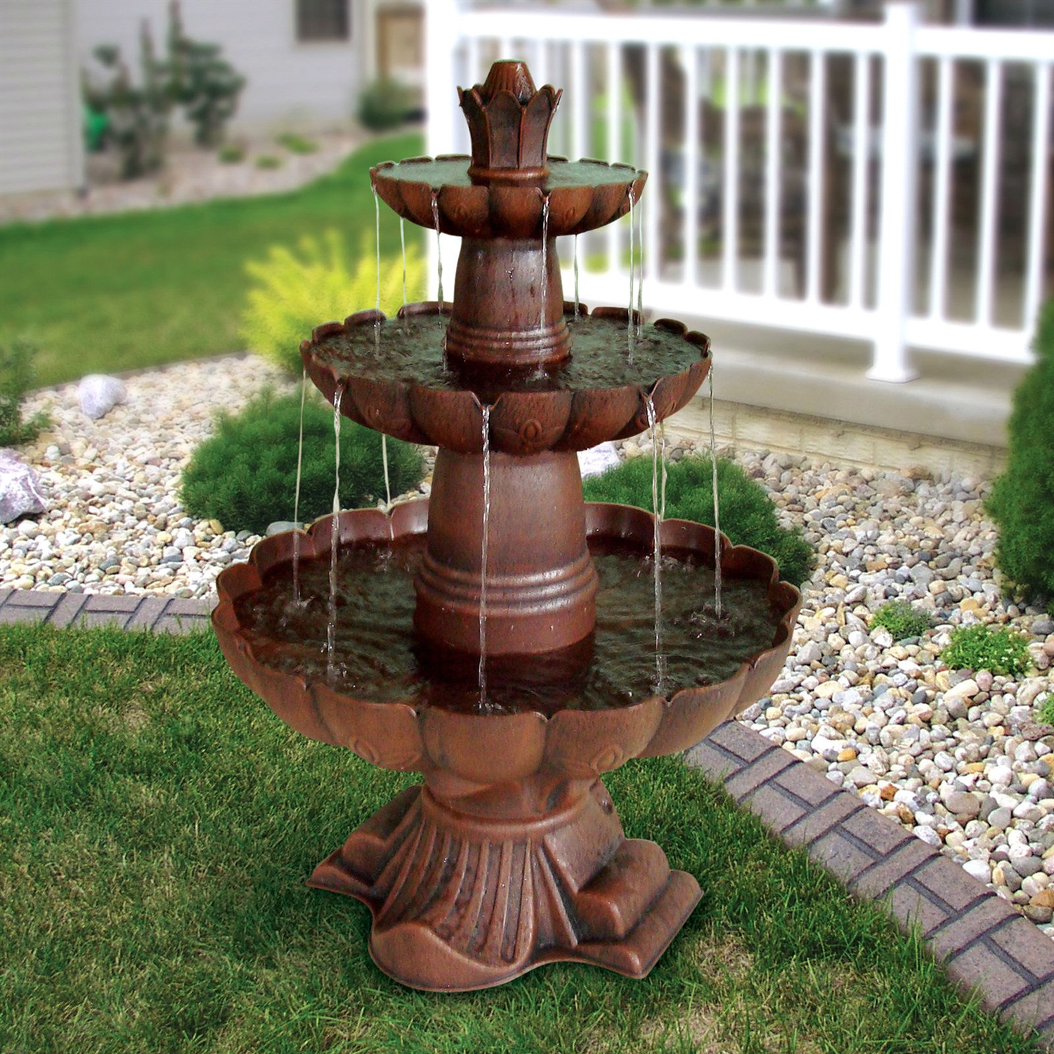 3 Tier Outdoor Garden Fountain in Durable Poly Vinyl Composite