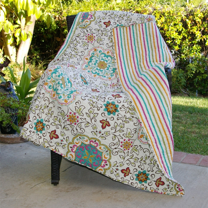 Bohemian Throw Blankets New 60% Cotton Throw Quilt Blanket With Bohemian Style Floral Pattern