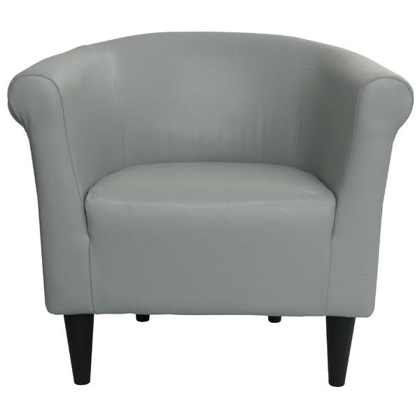 Gray Faux Leather Upholstered Accent Chair Club Made In Usa Fastfurnishings