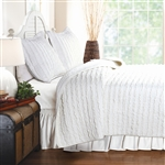 Twin Oversized 3-Piece Quilt Set White 100% Cotton Ruffles Pre-Washed