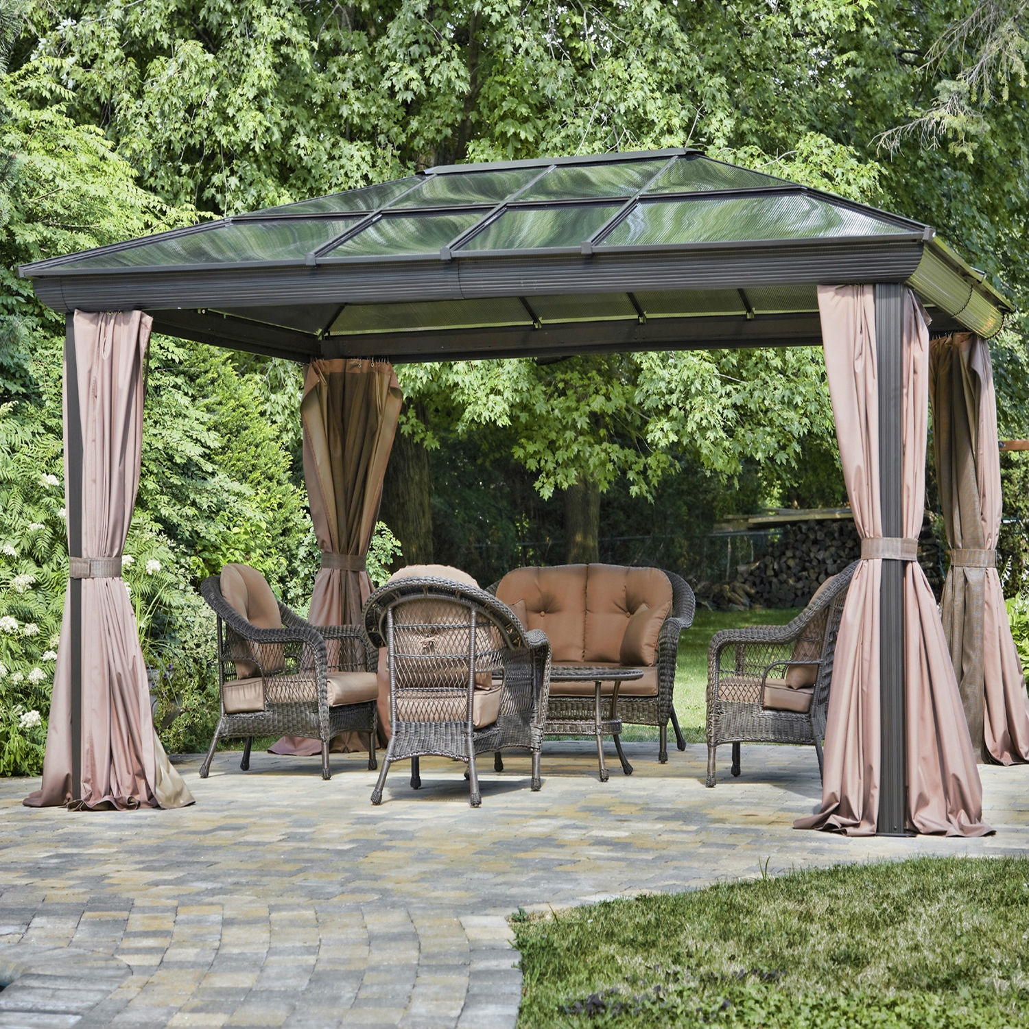 12-ft x 16-ft Year-Round Use Gazebo with UV Blocking Panels & 12-ft x 16-ft Year-Round Use Gazebo with UV Blocking Panels Canopy ...