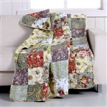 Red Green Blue Purple Yellow White 100-Percent Cotton Floral Patchwork Quilt Throw Blanket