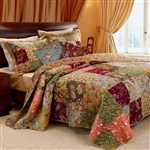 Full / Queen size 100% Cotton Patchwork Quilt Set with Floral Paisley Pattern