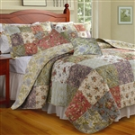 Full / Queen size 100% Cotton Floral Paisley Reversible Quilt Set