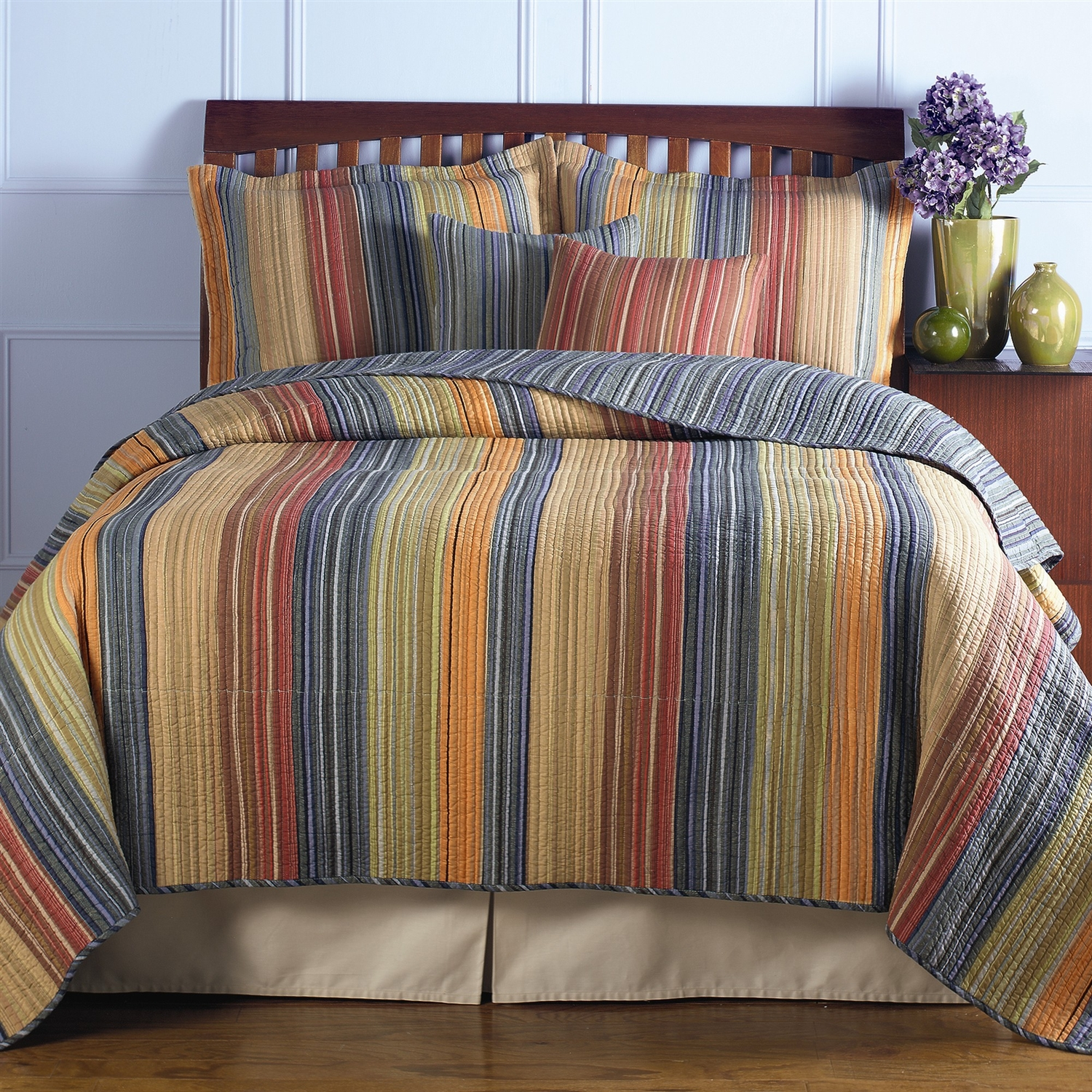 Full Queen 100 Cotton Quilt Set With Red Orange Blue Brown Stripes