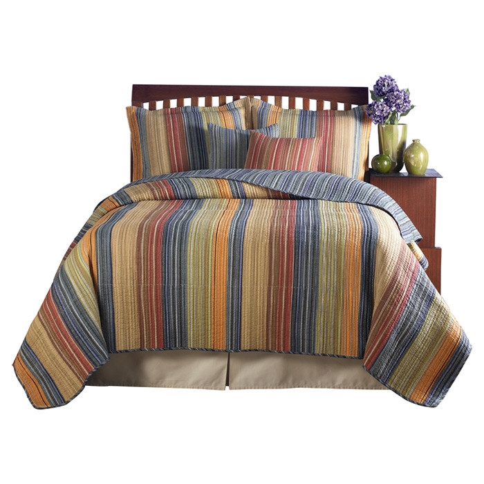 full queen 100 cotton quilt set with red orange blue brown