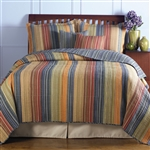 King size 100% Cotton Quilt Set with Brown Orange Red Blue Stripes