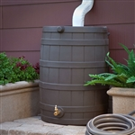 40-Gallon Durable Plastic Resin Rain Barrel in Brown Oak Finish with Spigot