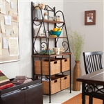Durable Metal and Wood Bakers Rack with Classic Wicker Basket Storage