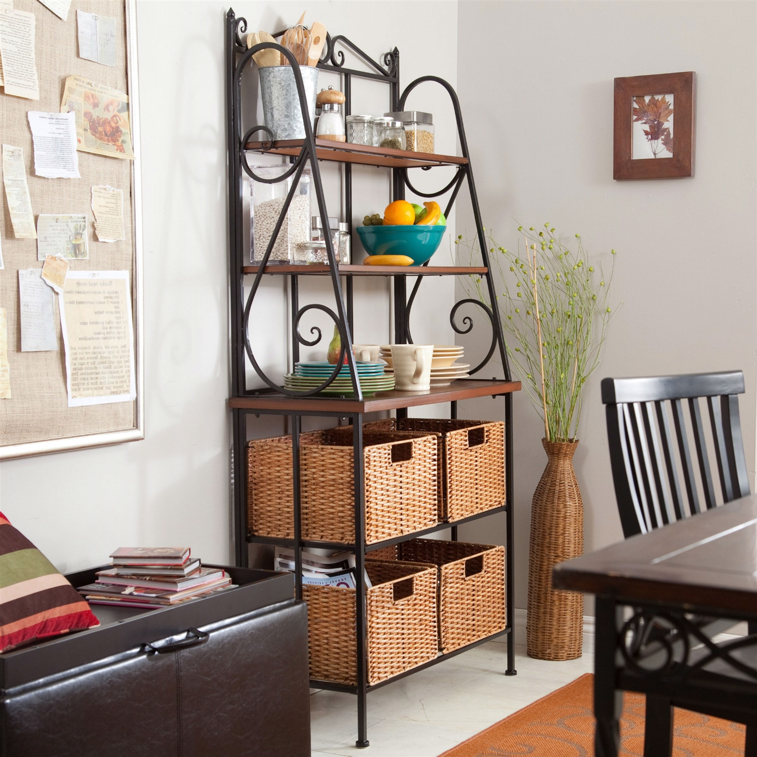 Durable Metal and Wood Bakers Rack with Classic Wicker Basket