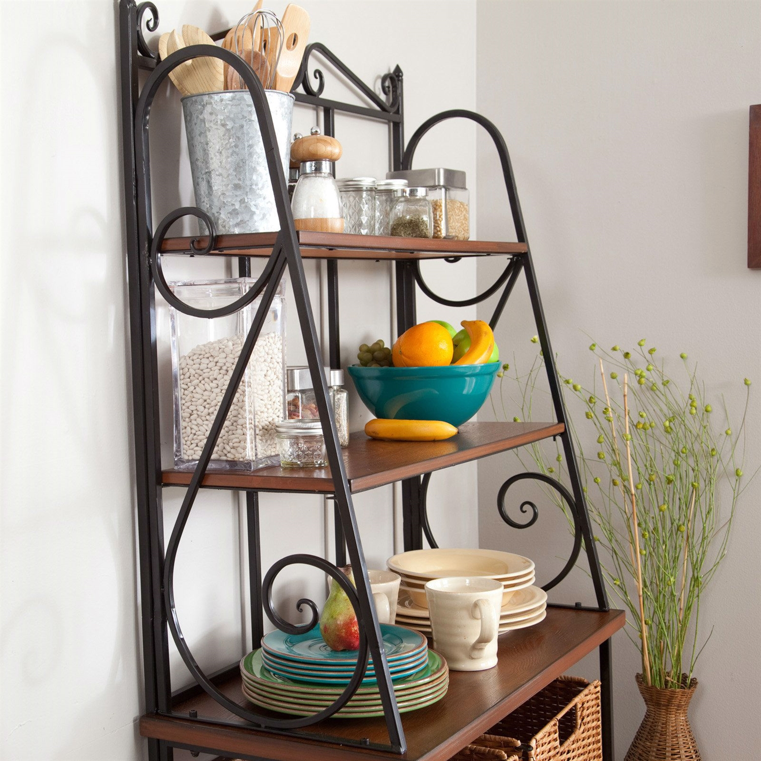 Corner bakers rack with cabinet - Retail Price 329 00