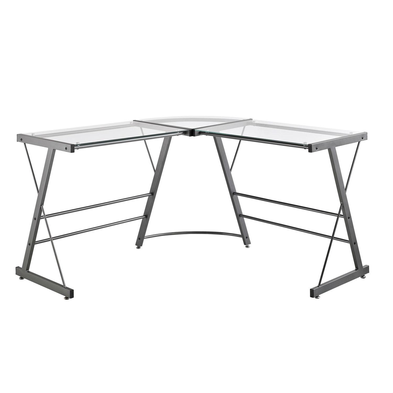 Metal Frame Glass Top L Shape Desk   Laptop Computer Writing Table