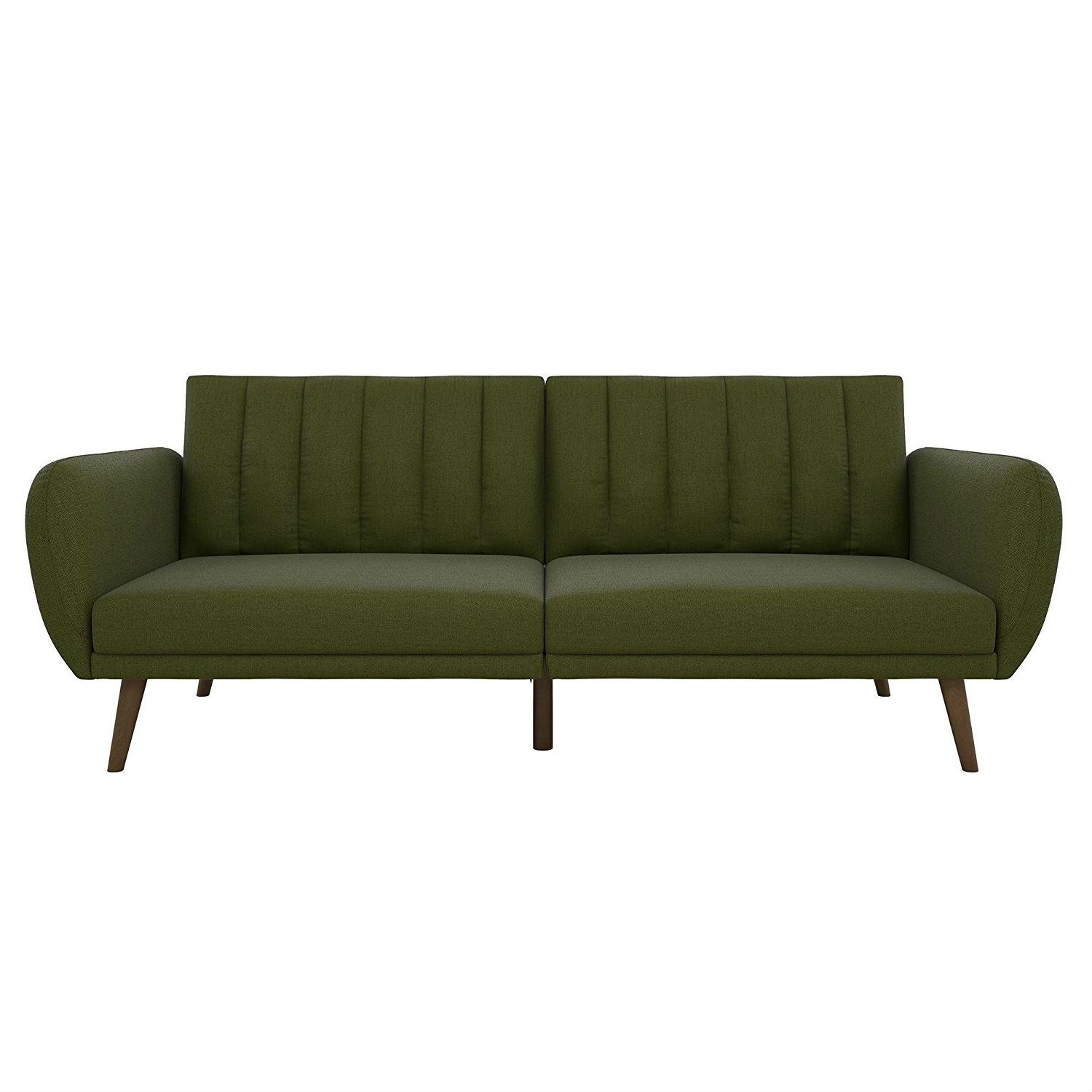 Green Linen Upholstered Futon Sofa Bed With Mid Century Style Wooden Legs