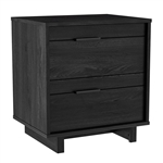 Modern Bedroom Nightstand in Grey Black Wood Finish
