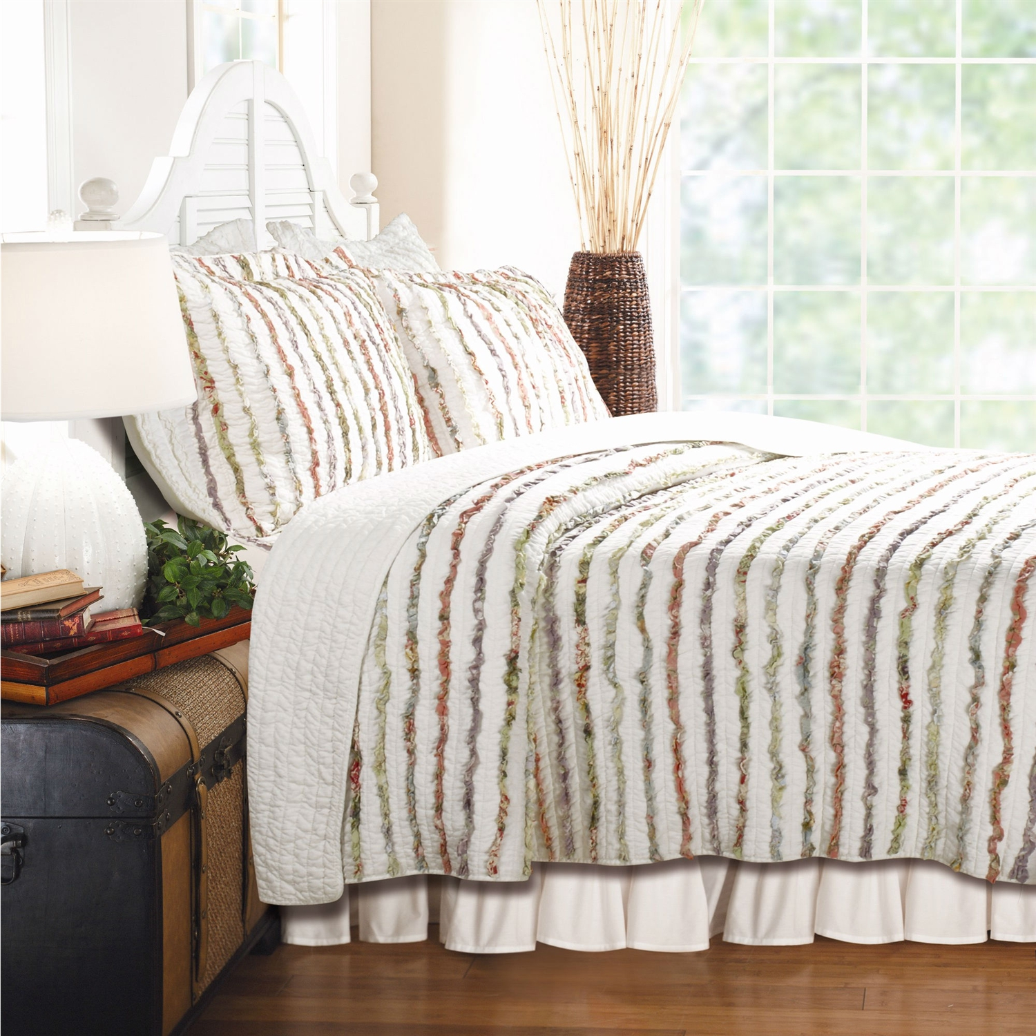 Full / Queen 100% Cotton Quilt Set Ruffled Multi-color Stripes ... : quilted cotton coverlet - Adamdwight.com