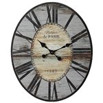 Gray Oversized Distressed Paris Wood Wall Clock