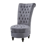 Gray Tufted High Back Plush Velvet Upholstered Accent Low Profile Chair