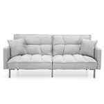 Plush Gray Split-Back Design Convertible Linen Tufted Futon w/ 2 Pillows
