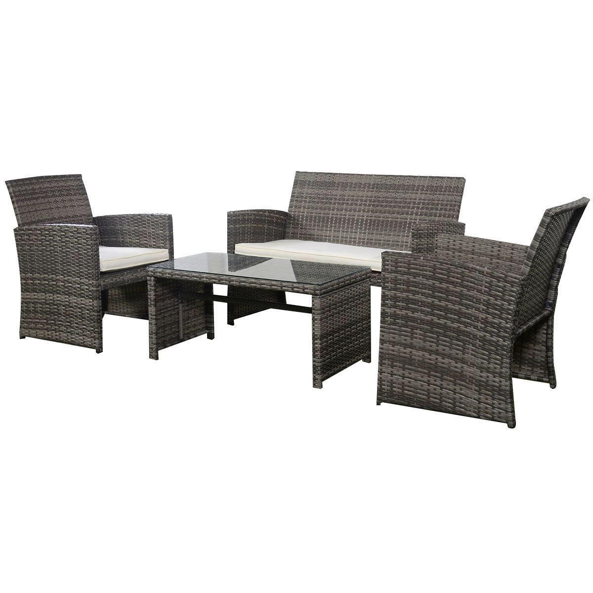 Grey Resin Wicker Rattan 4 Piece Patio Furniture Set With Seat Cushions