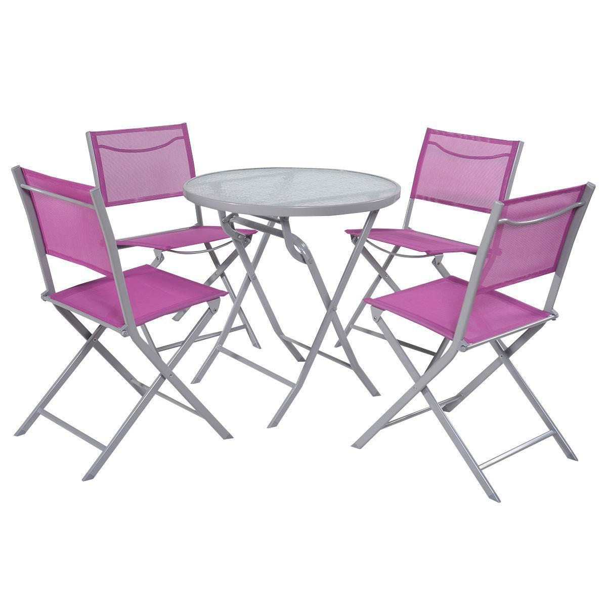 Cool Pink Purple Rose Red 5 Piece Folding Chairs And Table Outdoor Patio Furniture Set Gmtry Best Dining Table And Chair Ideas Images Gmtryco