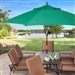 11-Ft Wood Patio Umbrella with Green Canopy - Commercial Grade