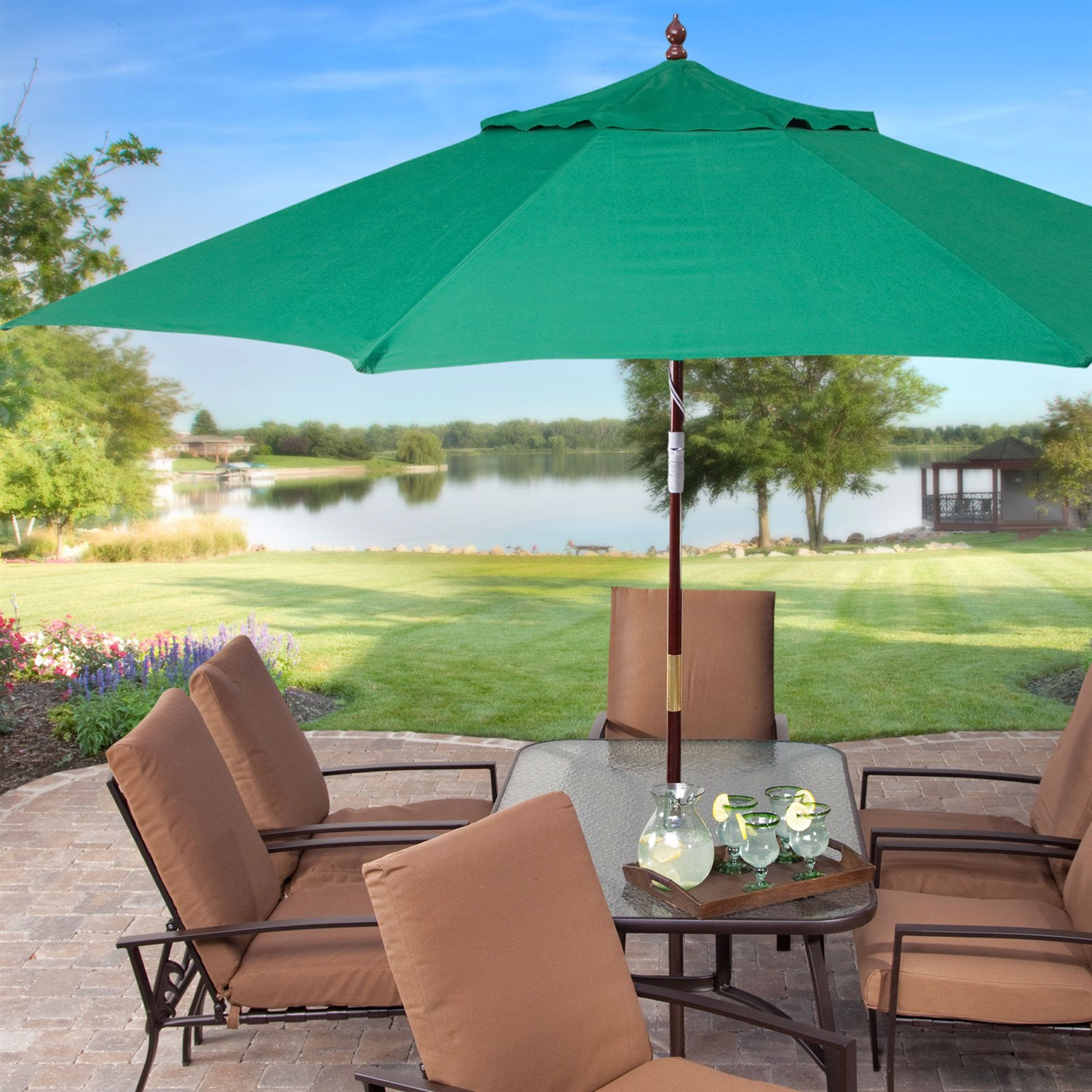 11 Ft Wood Patio Umbrella With Green Canopy   Commercial Grade