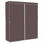 Brown Grey 60-inch Bedroom Wardrobe Closet Clothes Organizer Shoe Rack