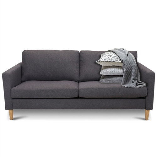 Modern Mid-Century Style Grey Fabric Sofa with Wood Legs