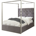 King size Grey Velvet Upholstered Canopy Bed with Chrome Canopy