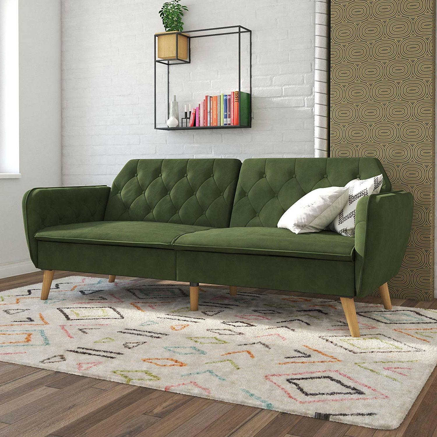 Memory Foam Futon Sofa Bed With Green