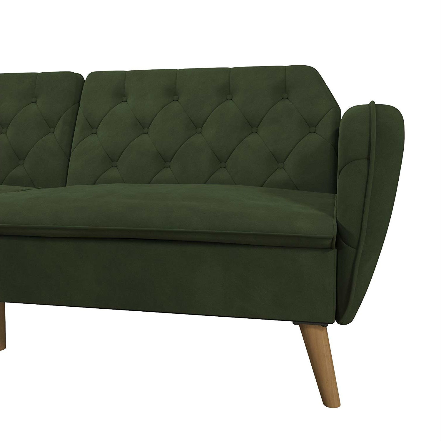 Memory Foam Futon Sofa Bed With Green Velvet Upholstery And Wood