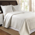 Full / Queen 100% Cotton Quilt Set in Ivory with Diamond Pattern