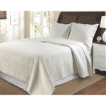 King size 100% Cotton Contemporary Quilt Set in Ivory with Diamond Pattern