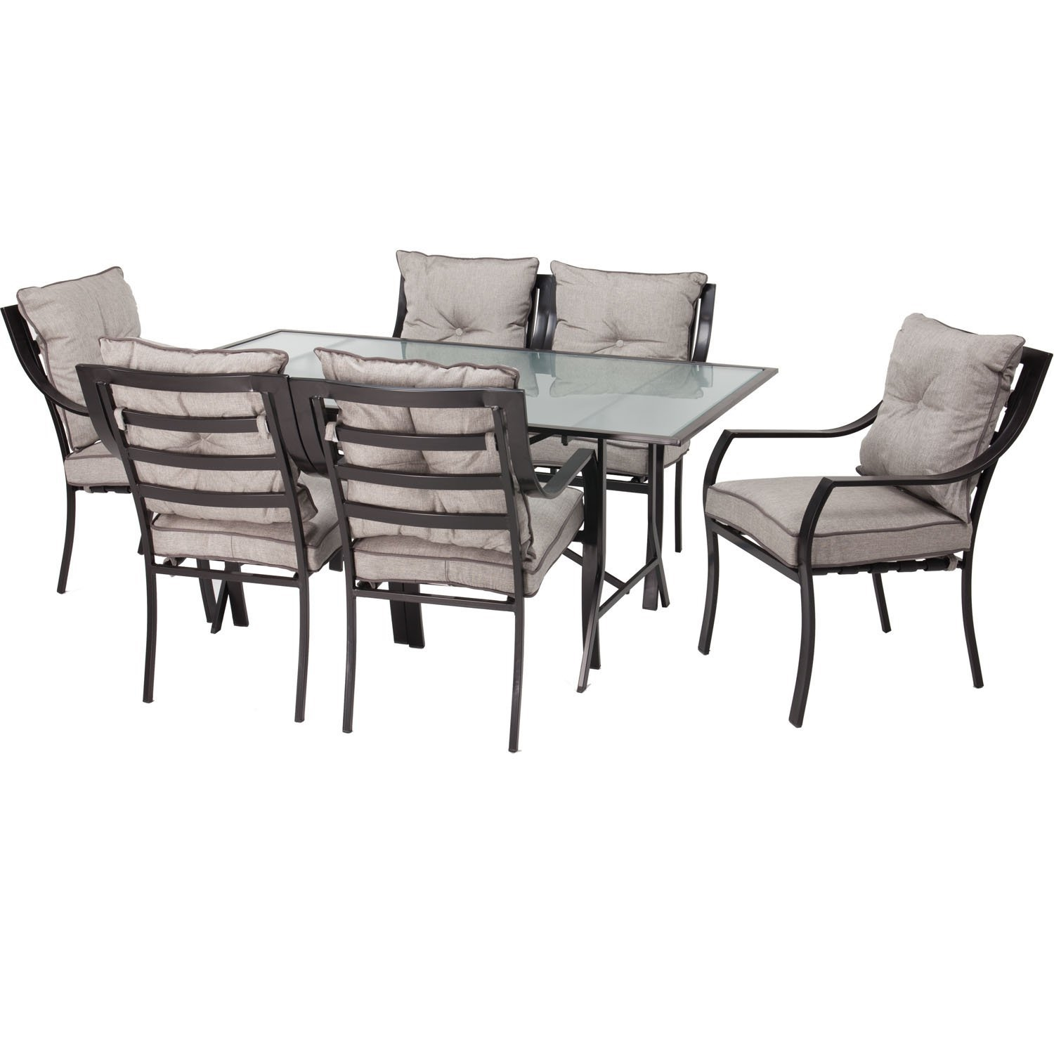 Metal outdoor dining furniture - 7piece Outdoor Patio Furniture Metal Dining Set With Cushions