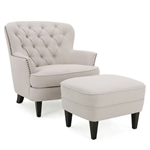 Natural Mid-Century Tufted Upholstered Club Armchair with Ottoman