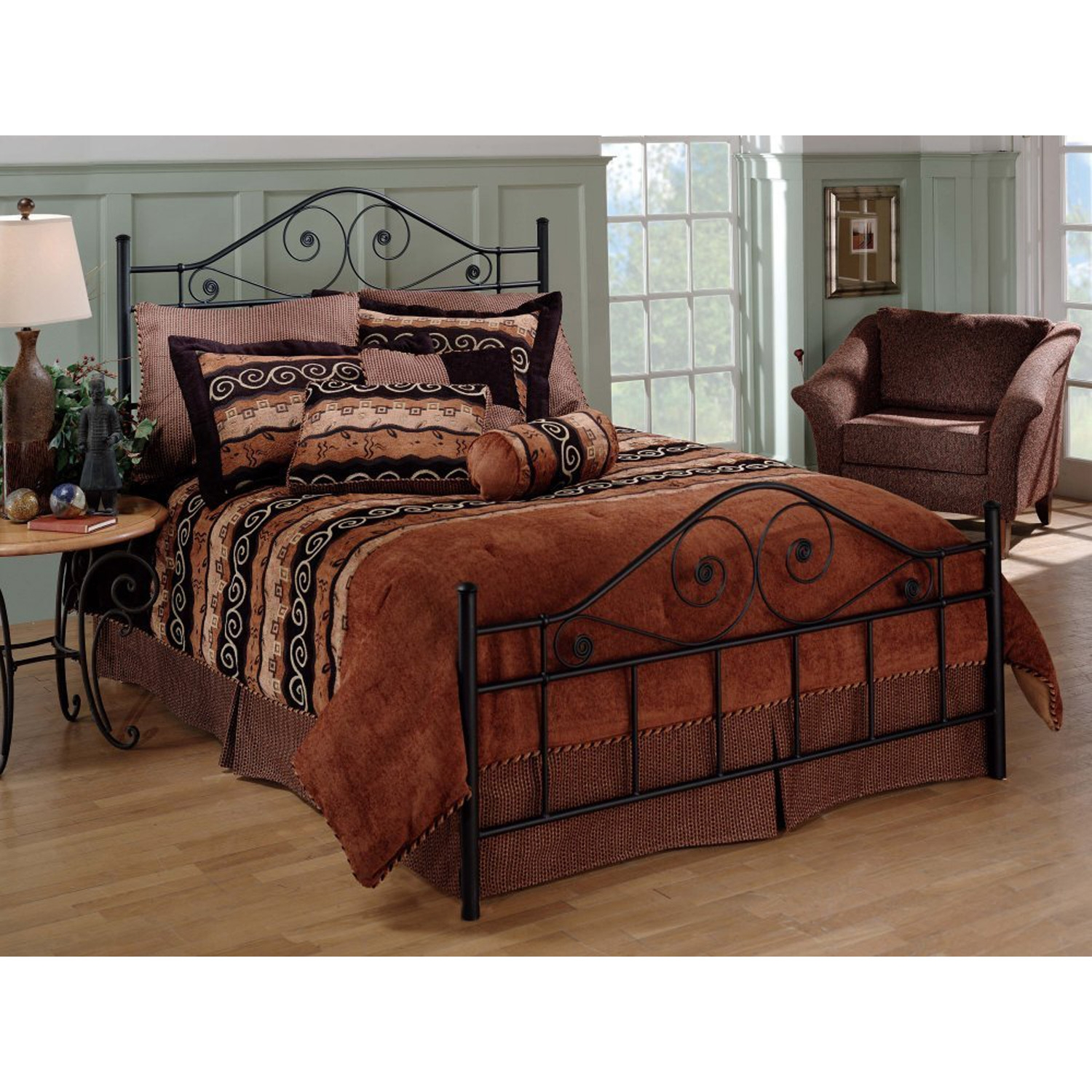 queen size black metal bed with scrollwork headboard and footboard - Black Metal Bed Frame Queen