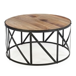 Round Metal and Wood Drum Shaped Coffee Table