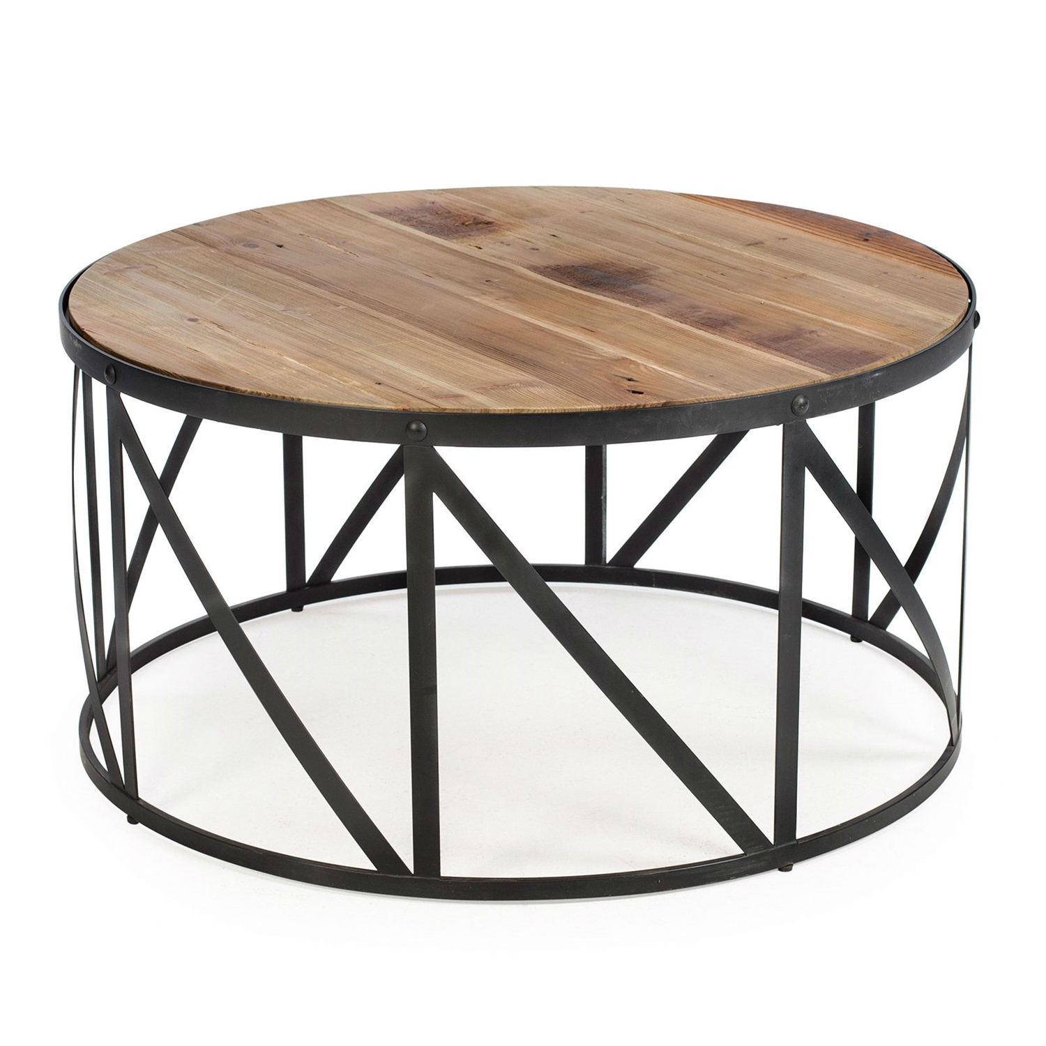 Drum Shaped Coffee Table.Round Metal And Wood Drum Shaped Coffee Table