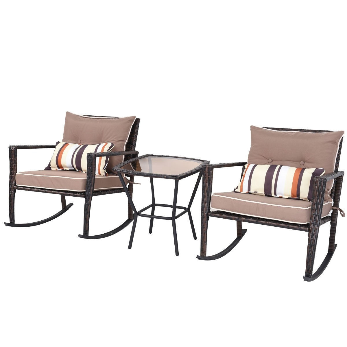 Brown 3 Piece Patio Set Rattan Wicker Rocking Chairs With Coffee Table Fastfurnishings