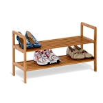 2-Tier Bamboo Shoe Shelf Rack - Holds 6 to 8 Pairs of Shoes