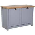 Oak Grey Cabinet Entryway Storage Bench