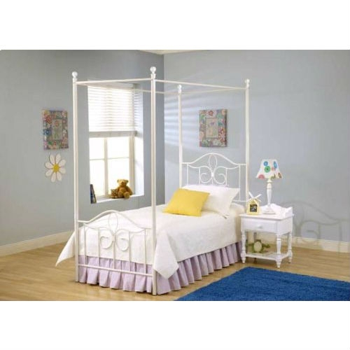 Twin Size Metal Canopy Bed In Off White