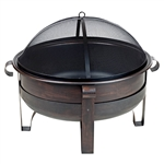 Heavy Duty 34-inch Fire Pit Deep Steel Cauldron with Screen