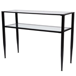 Modern Black Metal Console Table with Tempered Glass Top and Bottom Shelf