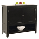 Wood Buffet Sideboard Cabinet in Black Finish
