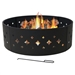 Heavy Duty 36-inch Black Steel Fire Pit Ring with Diamond Pattern