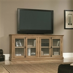 Scribed Oak Wood Finish TV Stand with Tempered Glass Doors - Made in USA