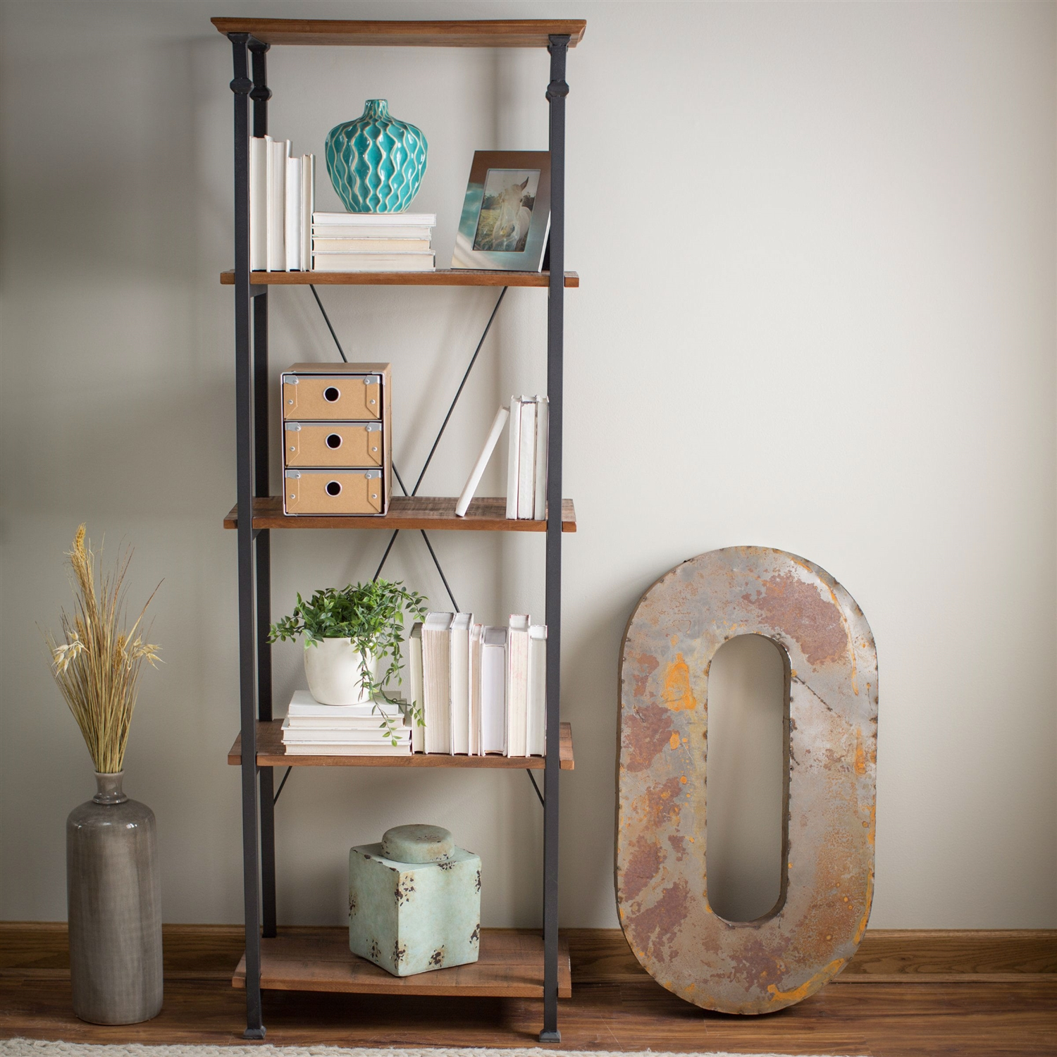 Living Room Kitchen Storage 4-Shelf Bookcase Bookshelf