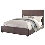 Queen size Grey Fabric Upholstered Bed with Tufted Headboard - Boxspring Required