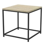 Modern Metal Frame End Table Nightstand with Taupe Finish Wood Top Side Table